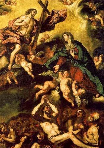 Día de Muertos - Ilustración o pintura de las Ánimas del Purgatorio