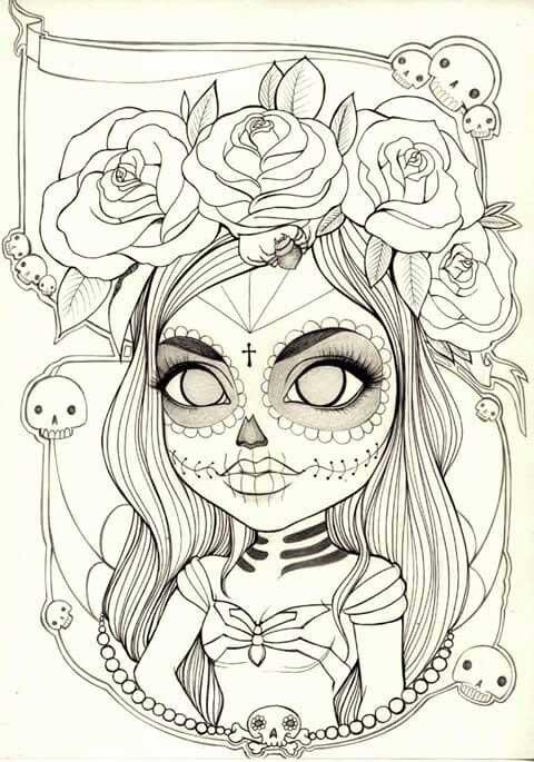 Catrina día de muertos zombie dibujos bonitos para colorear