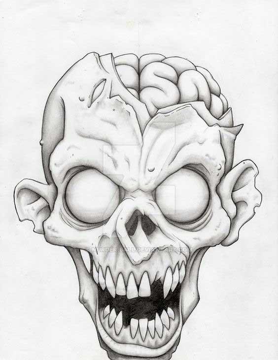 Zombies reales en blanco y negro para colorear